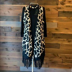 NWT BCBG L Giraffe Print Black Gold Fringe Vest